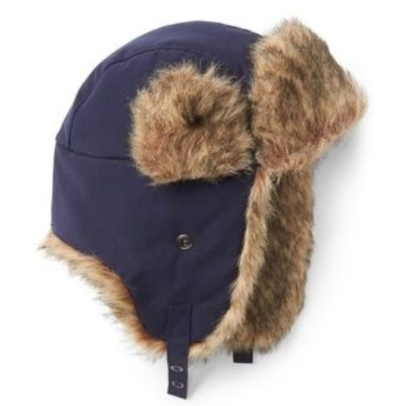 5bffdcc01 Gap Navy Blue Faux Fur Trapper Hat NWT